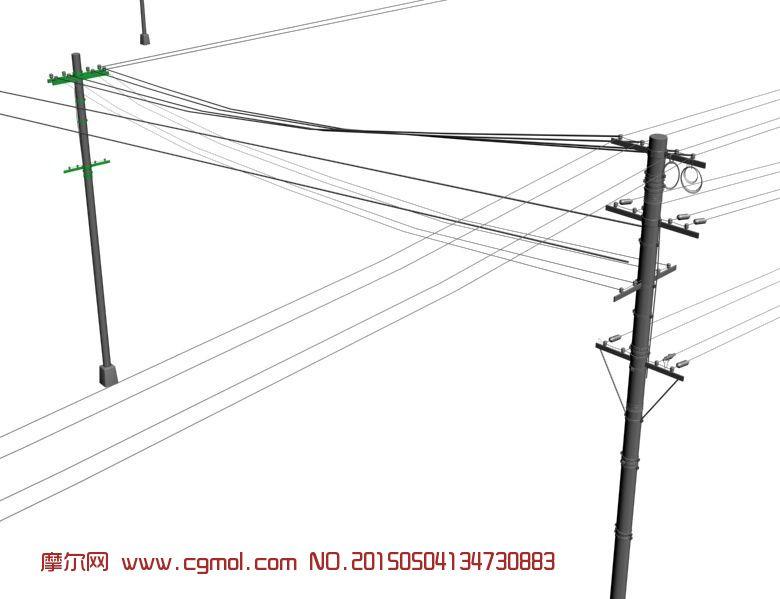电线杆max模型_基础设施