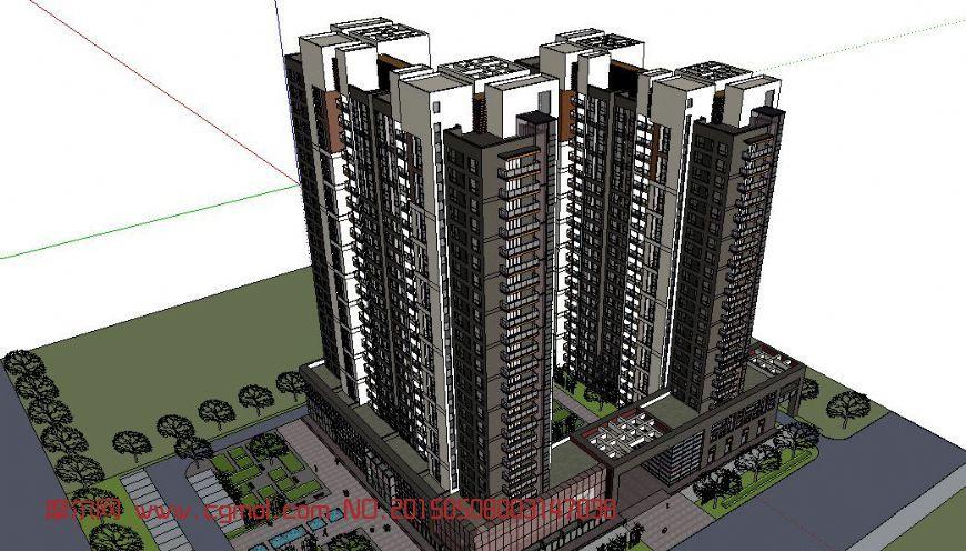 现代高层住宅+商业建筑skp模型