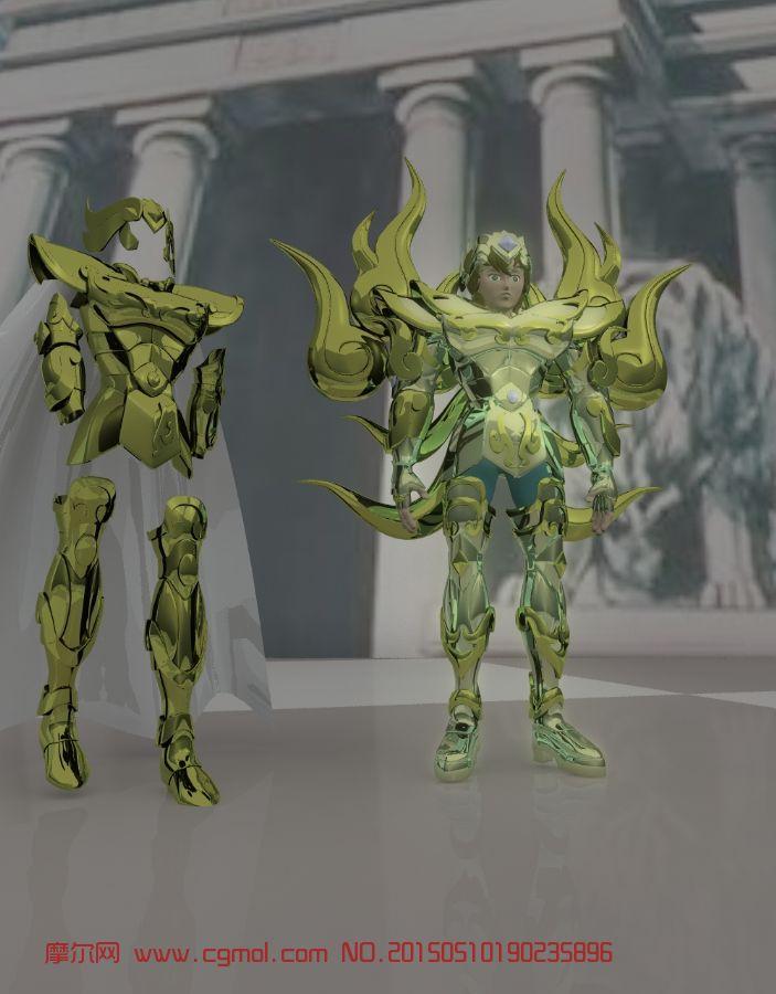 狮子座(黄金圣衣+神圣衣)maya模型