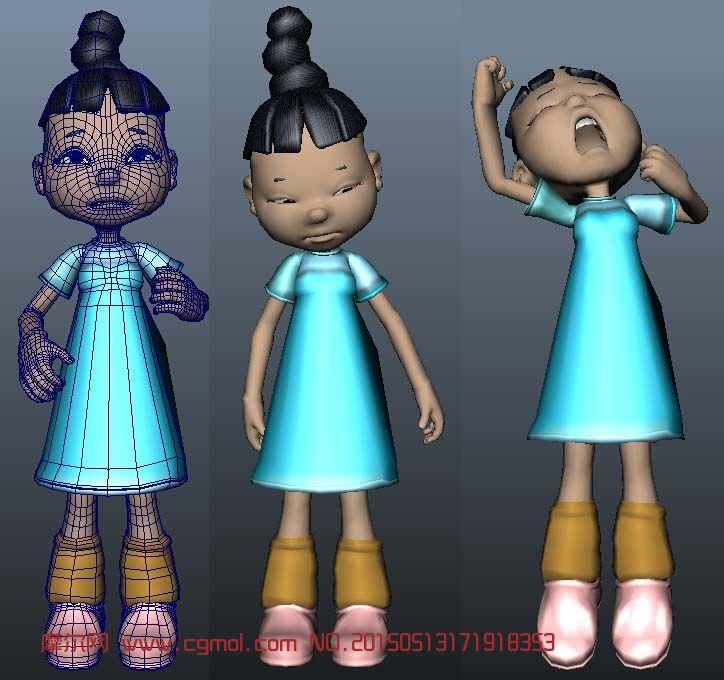 转载作品: 伸懒腰,打哈欠的小女孩maya模型