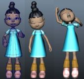 伸懒腰,打哈欠的小女孩maya模型