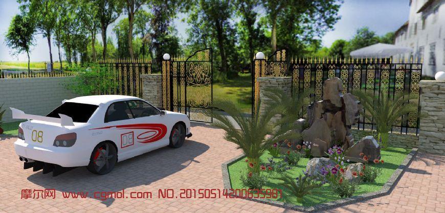 庭院一角skp模型