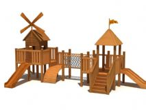 木制玩具,滑滑梯3D模型