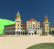 西班牙风格会所建筑,超细模型