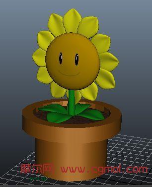 植物大战僵尸向日葵maya模型