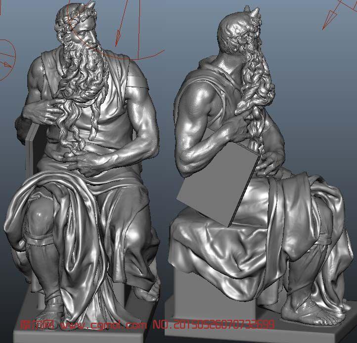 高精�摩西像,米�_朗基�_��作的大理石雕像maya模型
