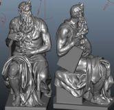 高精细摩西像,米开朗基罗创作的大理石雕像maya模型