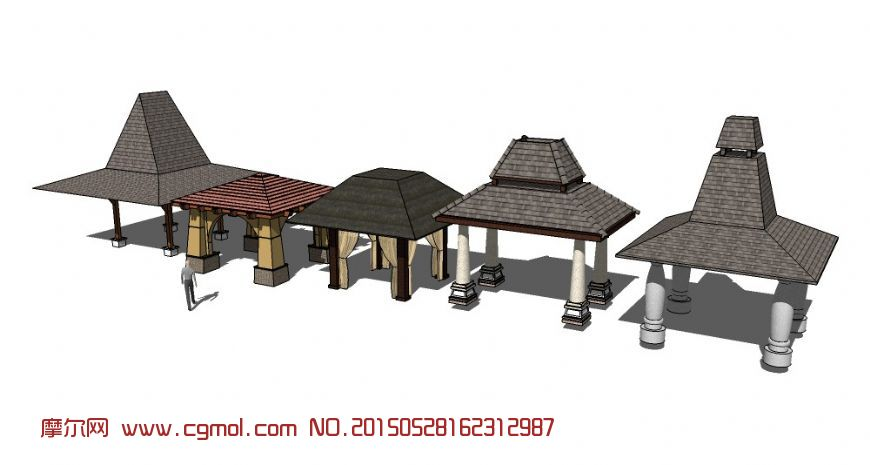 东南亚风格亭子su模型