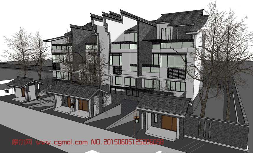 中式建筑风格的别墅su模型图片