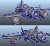 maya卡通飞机模型