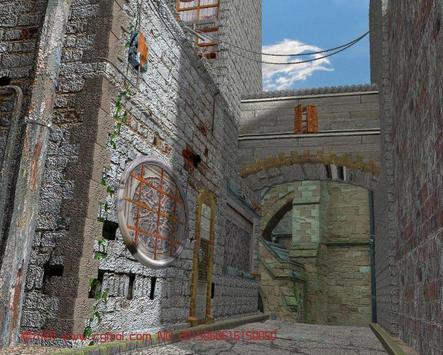 欧式小巷,建筑物maya模型