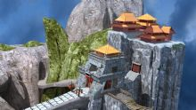 江流,峭壁上的古代建筑,城墙maya模型