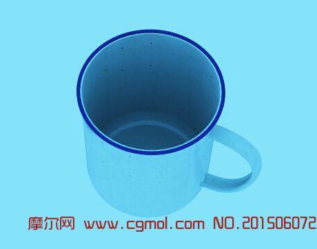 老式茶缸铁磁漆茶缸水杯3D模型