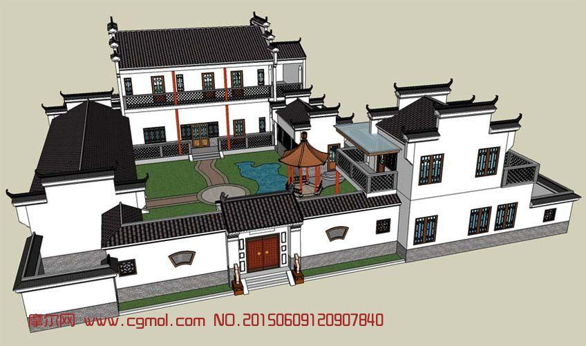 私宅模型su图纸,现代徽派,模型场景,3D轴线网三七v私宅模型建筑设计墙的中场景图片