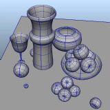 高脚杯,苹果,罐子,盘子-静物maya模型