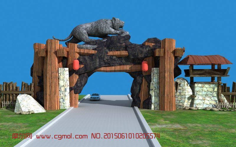 旅游区山门,动物园景区大门入口处场景3D模型