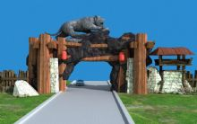 旅游�^山�T,�游�@景�^大�T入口��鼍�3D模型