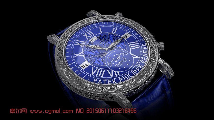限量版百�_翡��-�{色�T惑手表模型