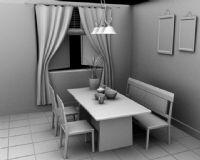 maya餐厅模型,室内效果
