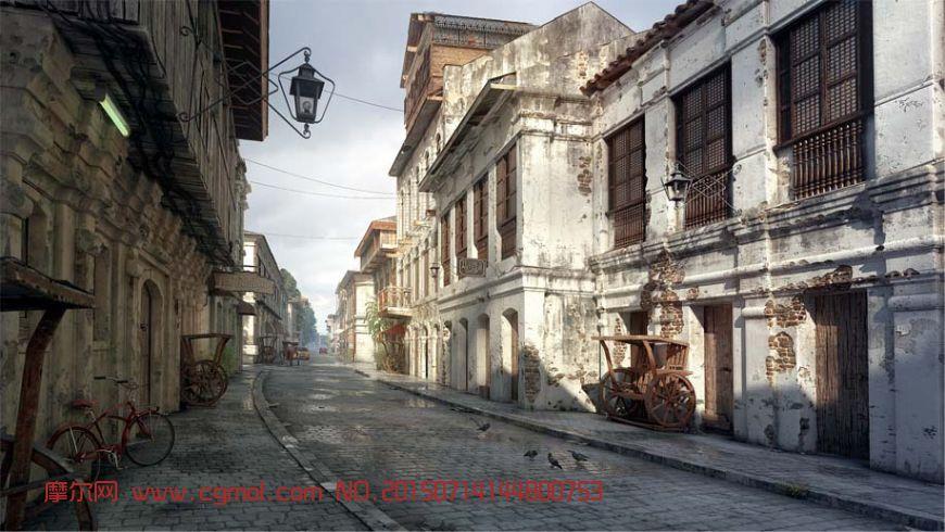 夕阳下的街道(材质贴图全,网盘下载)