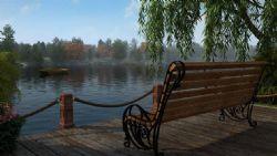 湖边长椅休闲场景
