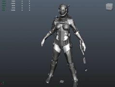 女性潜水机器人模型