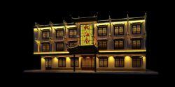 中式徽派酒店门头建筑