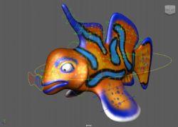 彩色条纹鱼maya模型(有绑定)