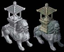 石狮香炉雕塑3D模型