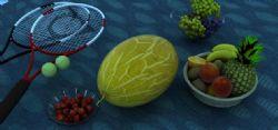哈密瓜,樱桃,水果一组