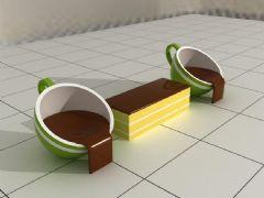 双排咖啡杯景观座椅