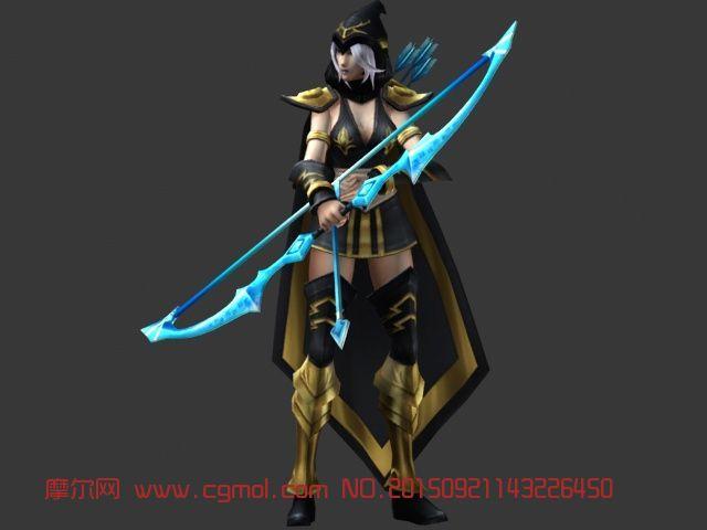 英雄联盟寒冰射手艾希3D模型动画,FBX格式,其他角色,游戏角