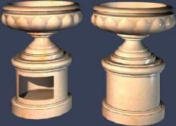 10几款花钵,花池模型