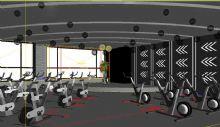 动感单车训练室3D模型