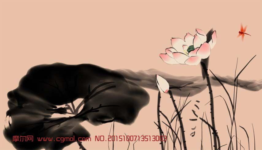 水墨蜻蜓荷叶荷花maya模型