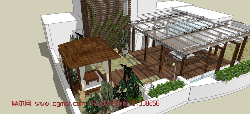屋顶防腐木屋顶庭院