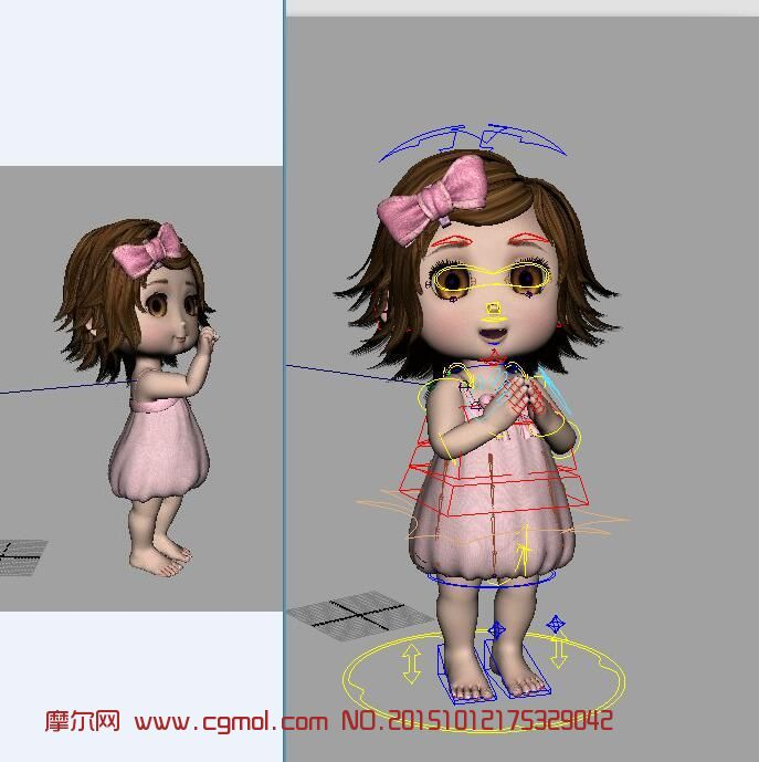 女孩带骨骼动画