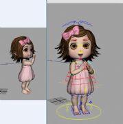 女孩带骨骼动画,绑定和动画都是原创的