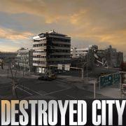 城市废墟场景3D模型,建筑破坏效果,损坏的汽车
