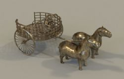 自己制作的古代青铜马车,有贴图,使用vray渲染