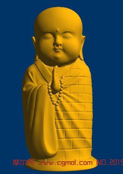 袈裟小和尚,雕刻 3d打印 stl
