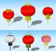 大红灯笼3D模型
