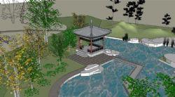 古典风格的园林公园su模型