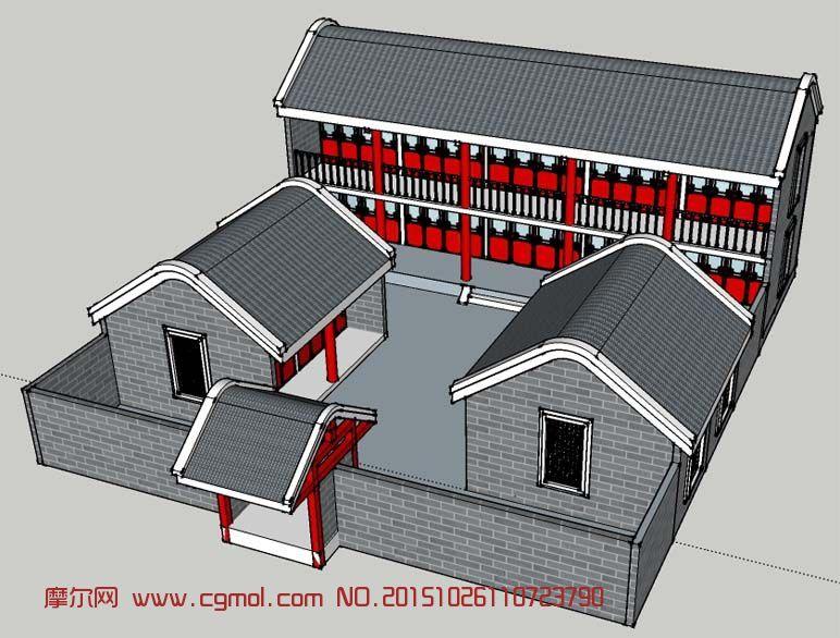 中式建筑  标签:别墅庭院四合院