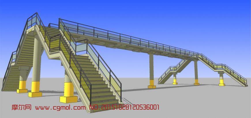 钢结构人行天桥,中式建筑,建筑模型,3d模型下载,3D模型网,