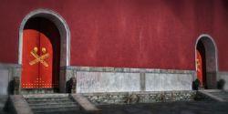 古代贴封条的宅院,封闭的大门,封门