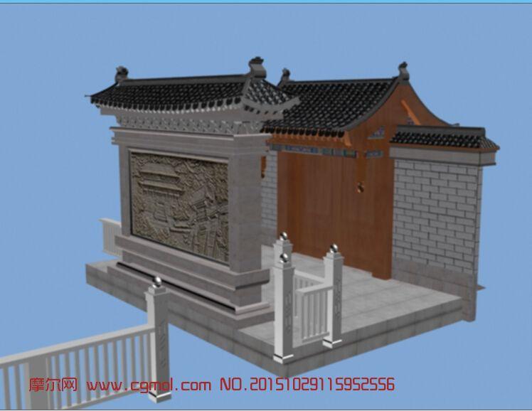 建筑模型 中式建筑  标签:古建古代建筑门头 作品描述:古建 上一个