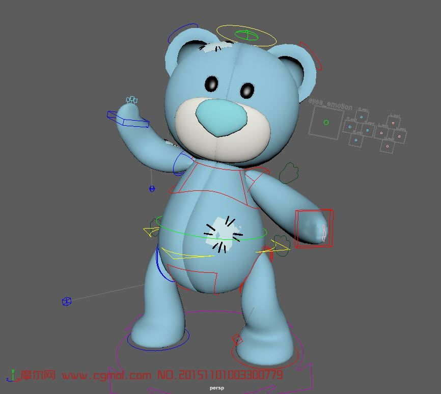 蓝色泰迪熊,maya绑定模型