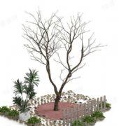 枯树栅栏景观小品