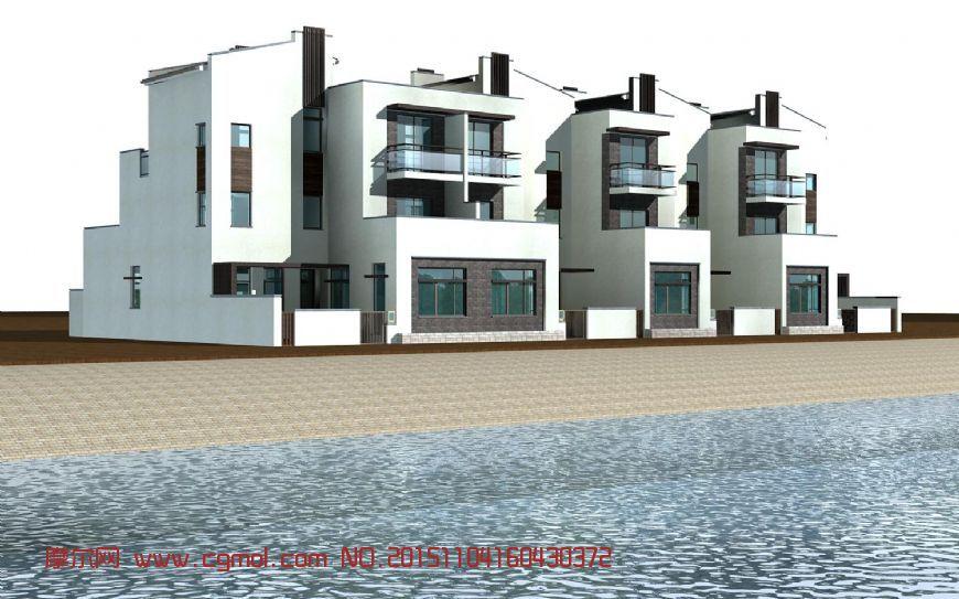 建筑模型 国外建筑  标签:新中式别墅联排住宅居民楼小区 作品描述